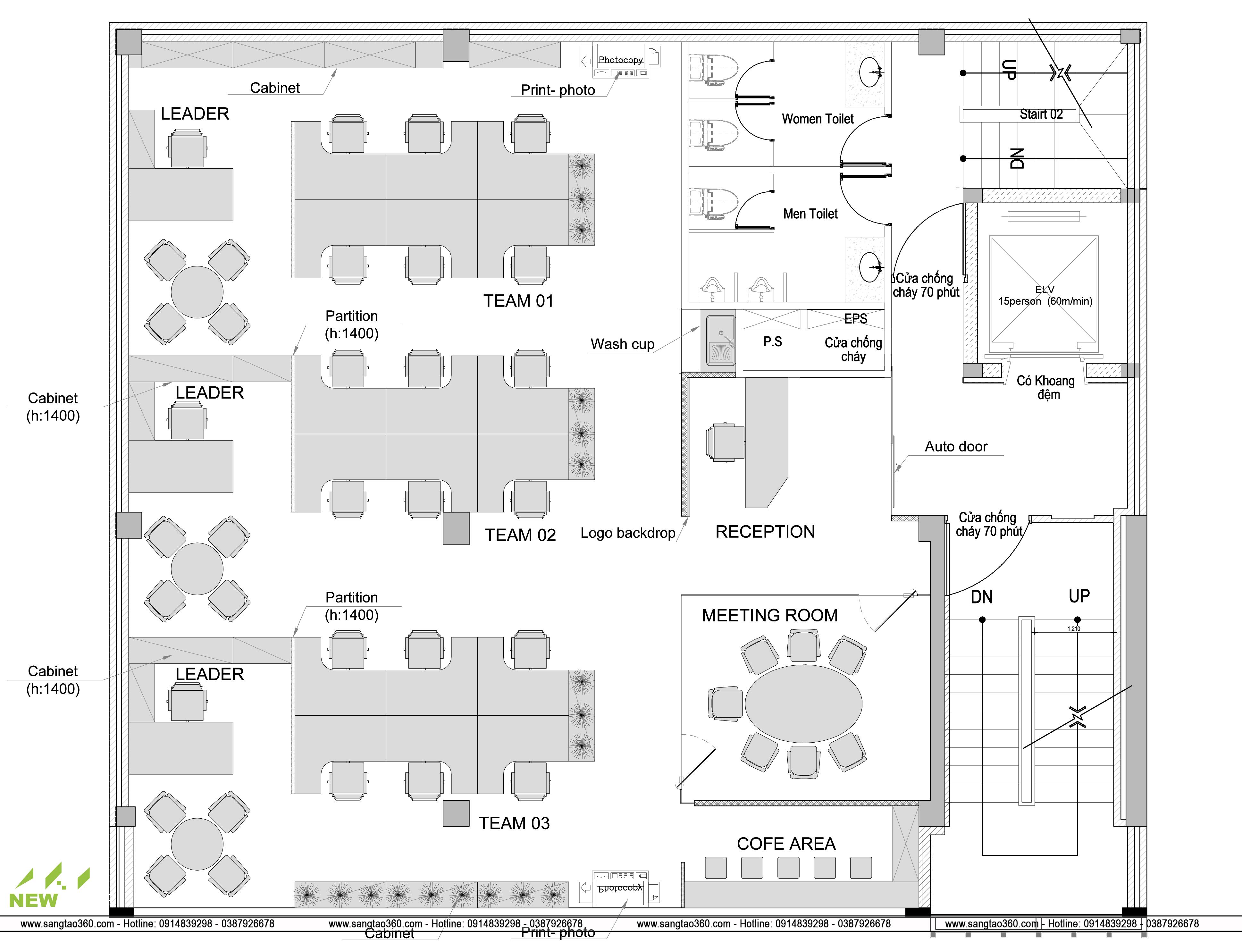 Thiết kế Mặt bằng bố trí nội thất Văn phòng Đại diện GMS (ASIA PACIFIC) Limited tại Hà Nội