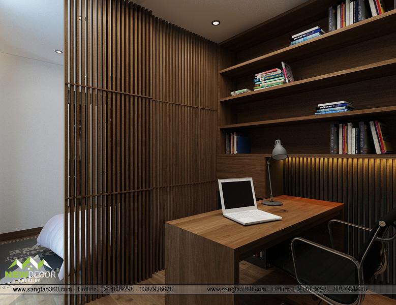 Phòng đọc sách với giá sách gỗ cùng bàn ghế tiện dụng