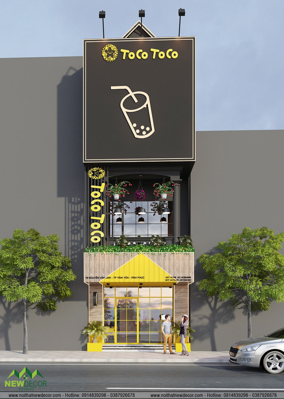 Thiết kế nội thất quán trà sữa Tocotoco