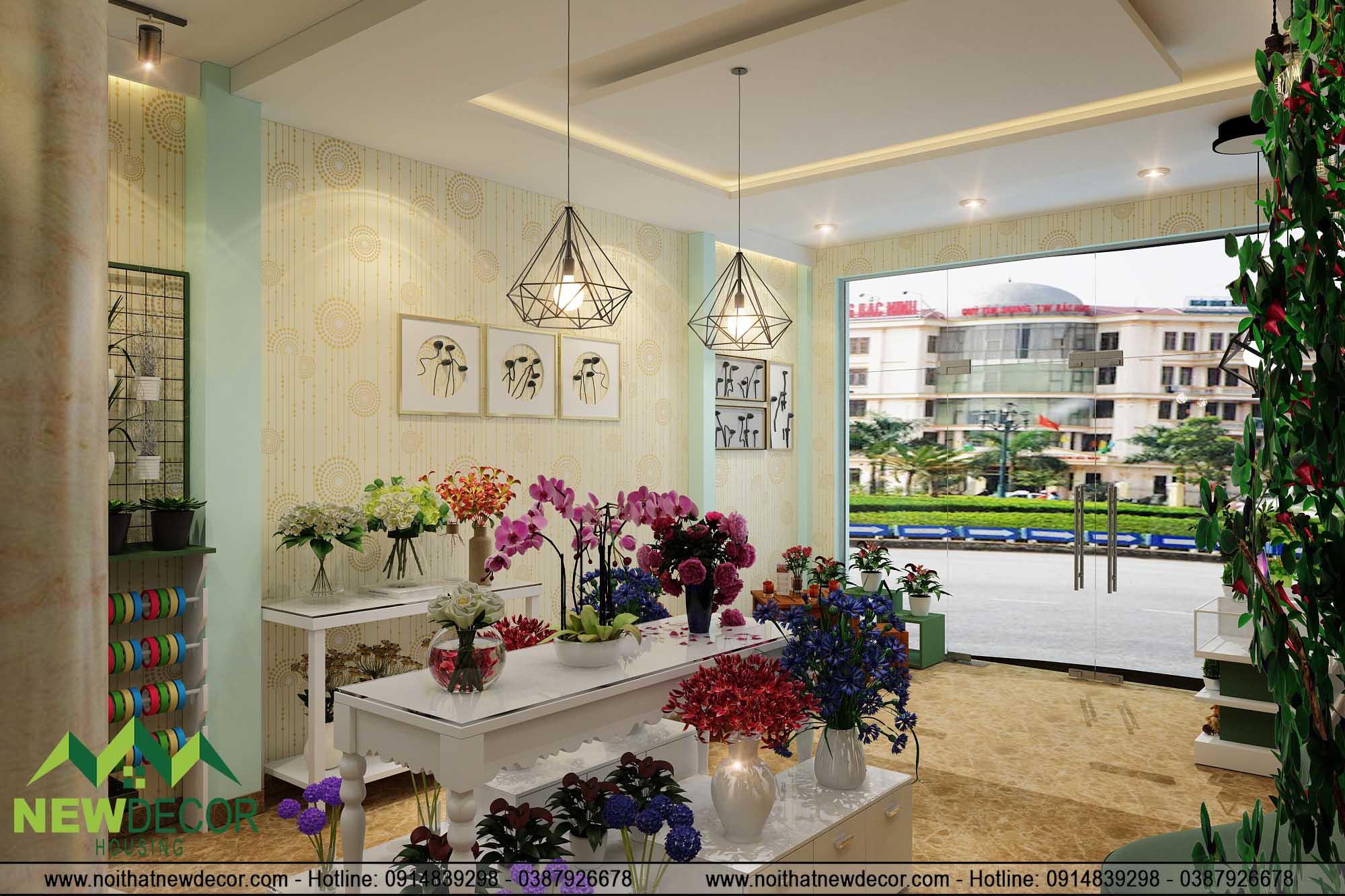 Thiết kế shop hoa tươi tại tầng 1