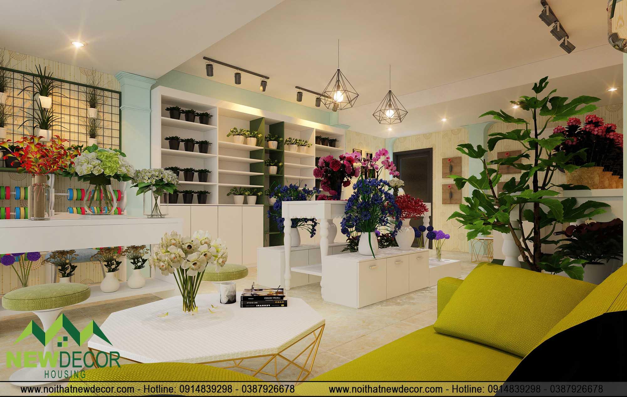 Không gian tầng 2 shop hoa tươi tinh tế
