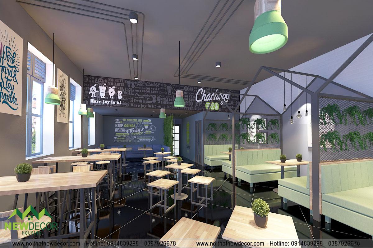 Thiết kế nội thất quán trà sữa Chachago